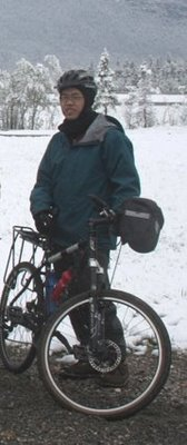 Steve Loo rides his bike even in the Winter up in Calgary